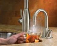 Hot water dispenser in home kitchen