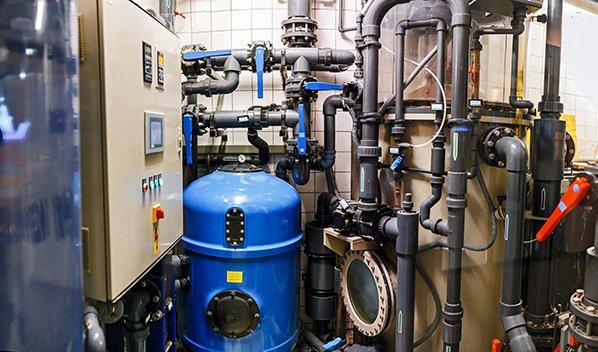 commercial plumbing control room
